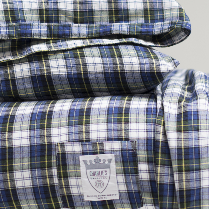 Charlie's Original Sheet Set blue plaid dorm room bedding