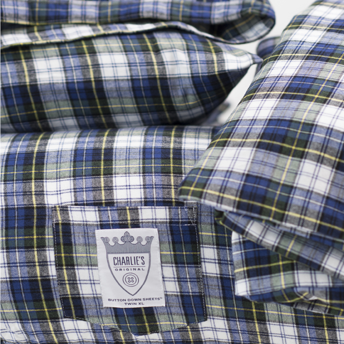 Charlie's Original Duvet Set blue plaid dorm room bedding