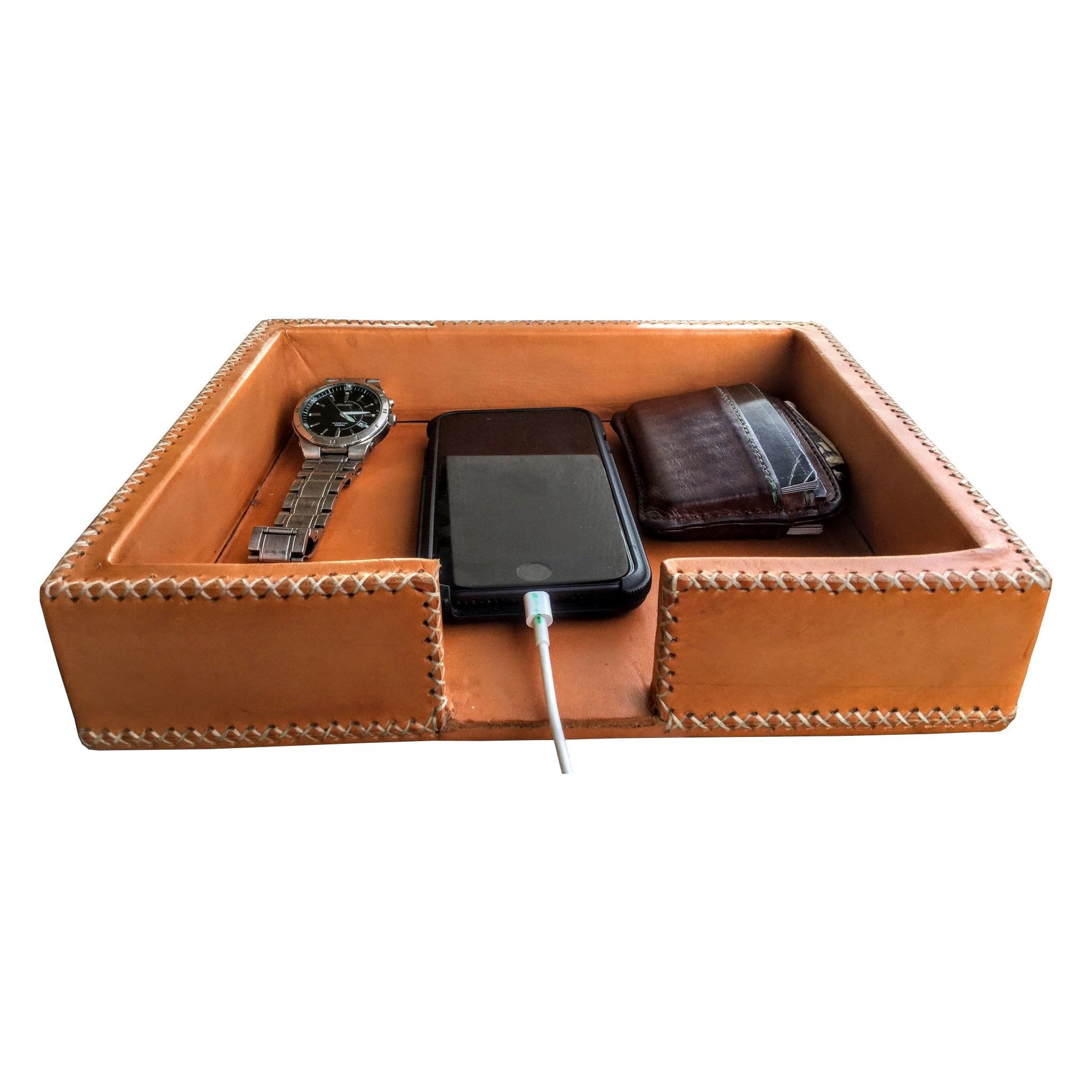5b80e64f84b3 BATI LEATHER VALET TRAY CHARGING STATION - Collegiate Supply Co.