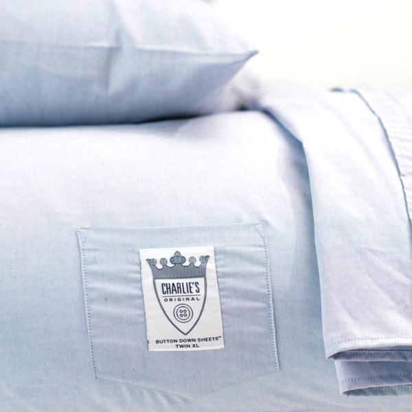 Charlie's Original Sheet Set blue oxford dorm room bedding